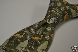 Hermes-Green-Blue-Yellow-Grebe-Heron-Landscape-Silk-Tie-Made-in-France-7361-PA