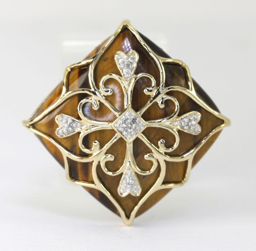 Diamond tiger eye ring 14K 2 tone gold filigree large square &round 14.15CT sz 9