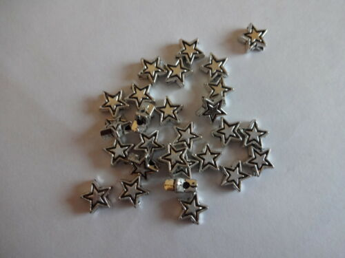 100 pcs Quality Brightly Plated 7mm Tibetan Silver Star Spacer Beads 50 25