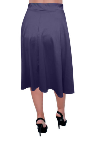 Knee Length Plain Skater Flared Skirt Plus Size Womens Skirts Elastic Waist