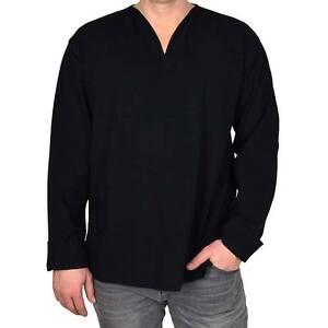 on sale e4557 0ec22 Details zu Mabrasco Tunika schwarz, Hemd langarm, kragenlos mit V-Ausschnitt