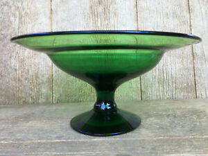 Blenko Hand Made Art Glass Green Pedestal Footed Bowl Vintage Mid-Century Modern