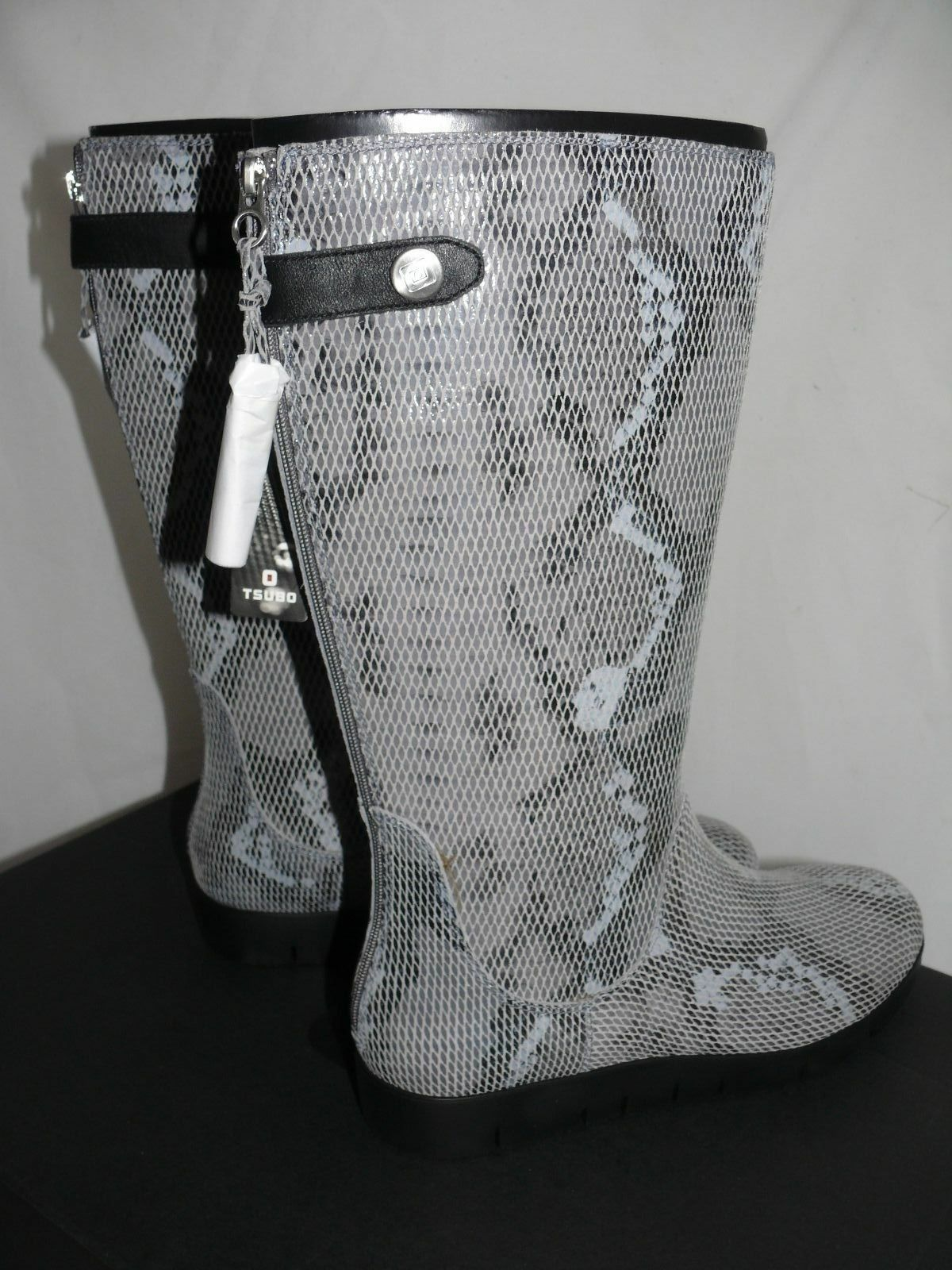 TSUBO EILIS SNAKE BOOTS womens WATERPROOF LEATHER CHARCOAL size 6 or 9.5