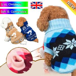 Pet Cat Dog Knitted Jumpsuit Warm Winter Sweater Coat Puppy Vest Jacket Cloth Uk Ebay