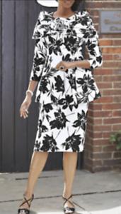 Details about Plus 22W White Black Floral Peplum Skirt Set Ashro Church  Career Formal Suit