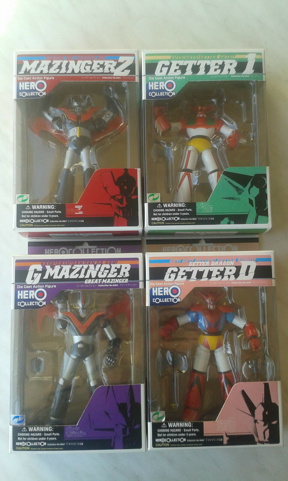 HERO COLLECTION,COMPLETA,MAZINGER,GETTER,DIECAST FIG ROBOT YAMATO,GO NAGAI,NUOVI