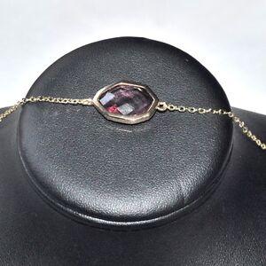 Bracelet-chaine-couleur-or-cristal-violet-facon-amethyste-18cm-bijou-A3