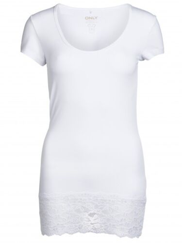 ONLY basic T-Shirt Live Love Long mit Spitze
