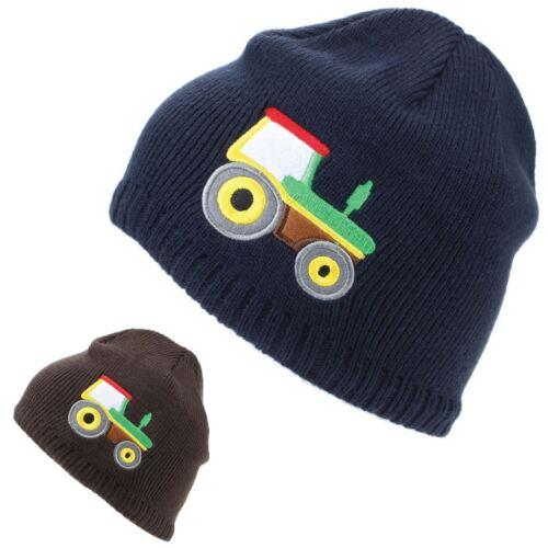 Tracteur Chapeau Enfants Fine Knit Beanie brodé FARMER Kids marron bleu marine NEUF