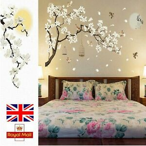 Cherry Blossom Decals Mural Decor White Blossom Tree Branch Wall Art Stickers Home Décor Items Home, Furniture & DIY