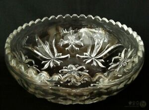 VTG-Pressed-Glass-Stylised-Fleur-De-Lys-And-Rose-Bowl-9-034-FREE-Delivery-UK