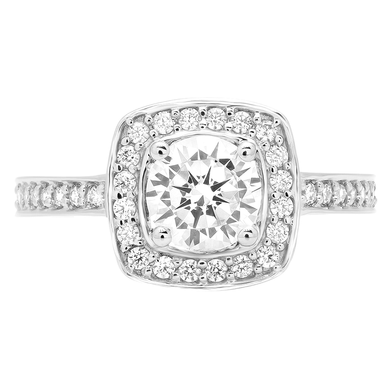 1.36ct Round Cut Solitaire Halo Engagement Wedding Promise Ring 14k White gold