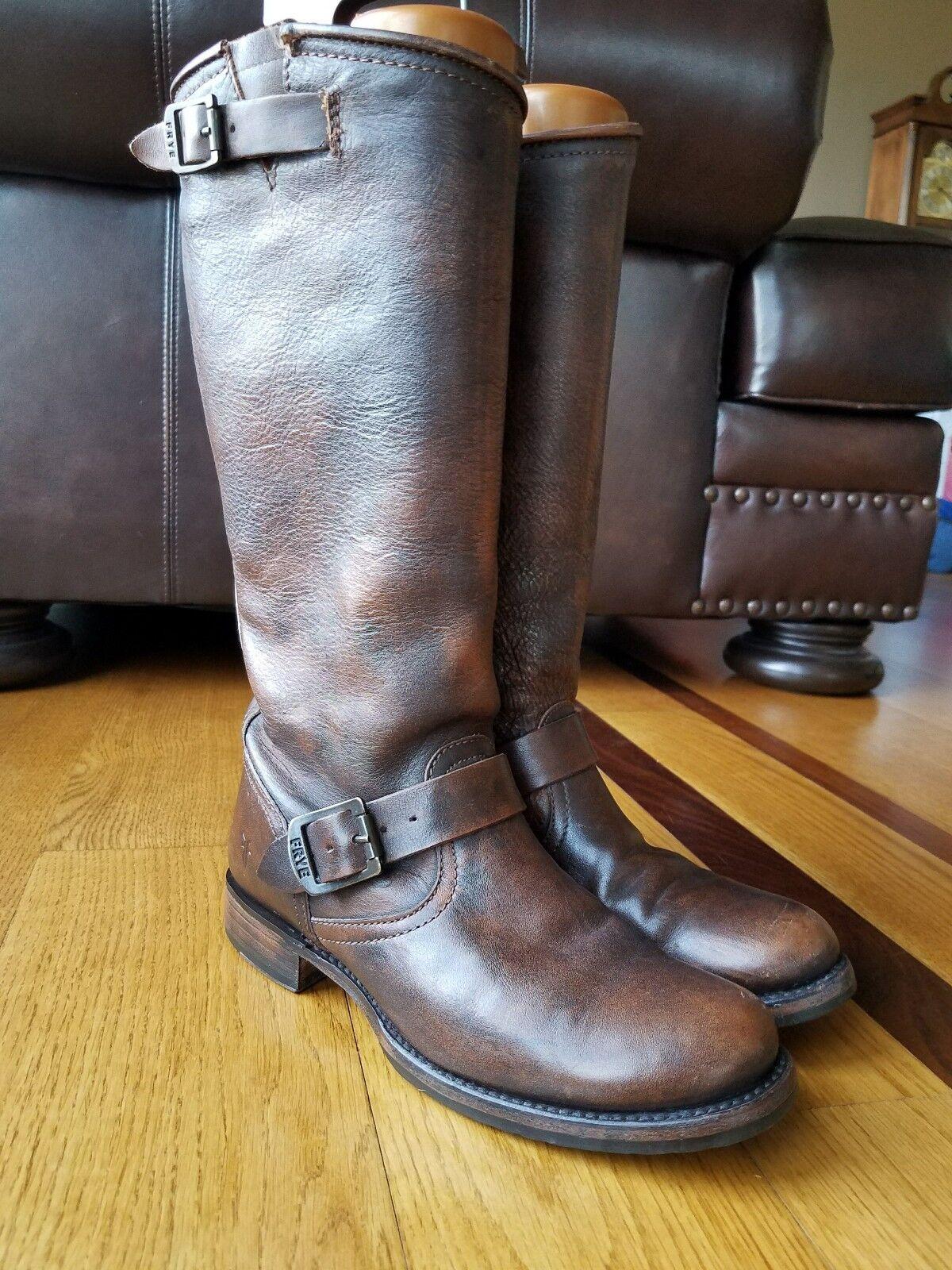 Frye Veronica para para para Mujer de Cuero Marrón botas De Montar a Caballo de alto Slouch Hebilla de campus 9 9.5  mas barato