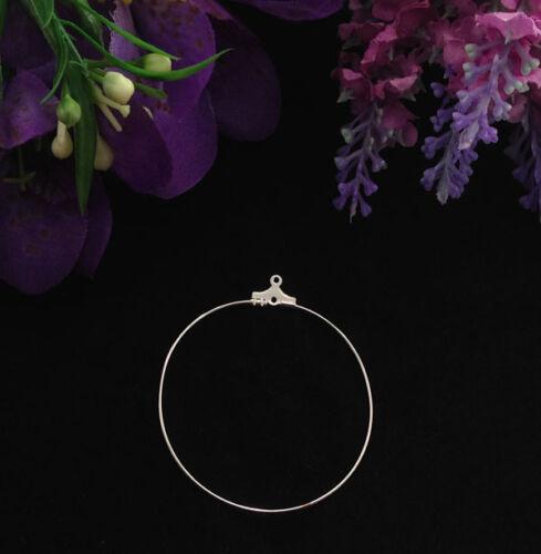 100PCS Silver plate 45mm hoop earwire earring charms #22612