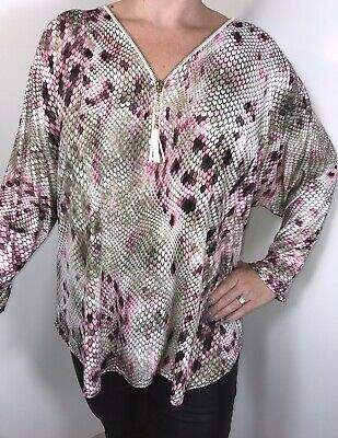 Snake Print Tunic Top Stretchy Pink Silky Soft Long Plus Fits 16 18 20 22 24 NEW