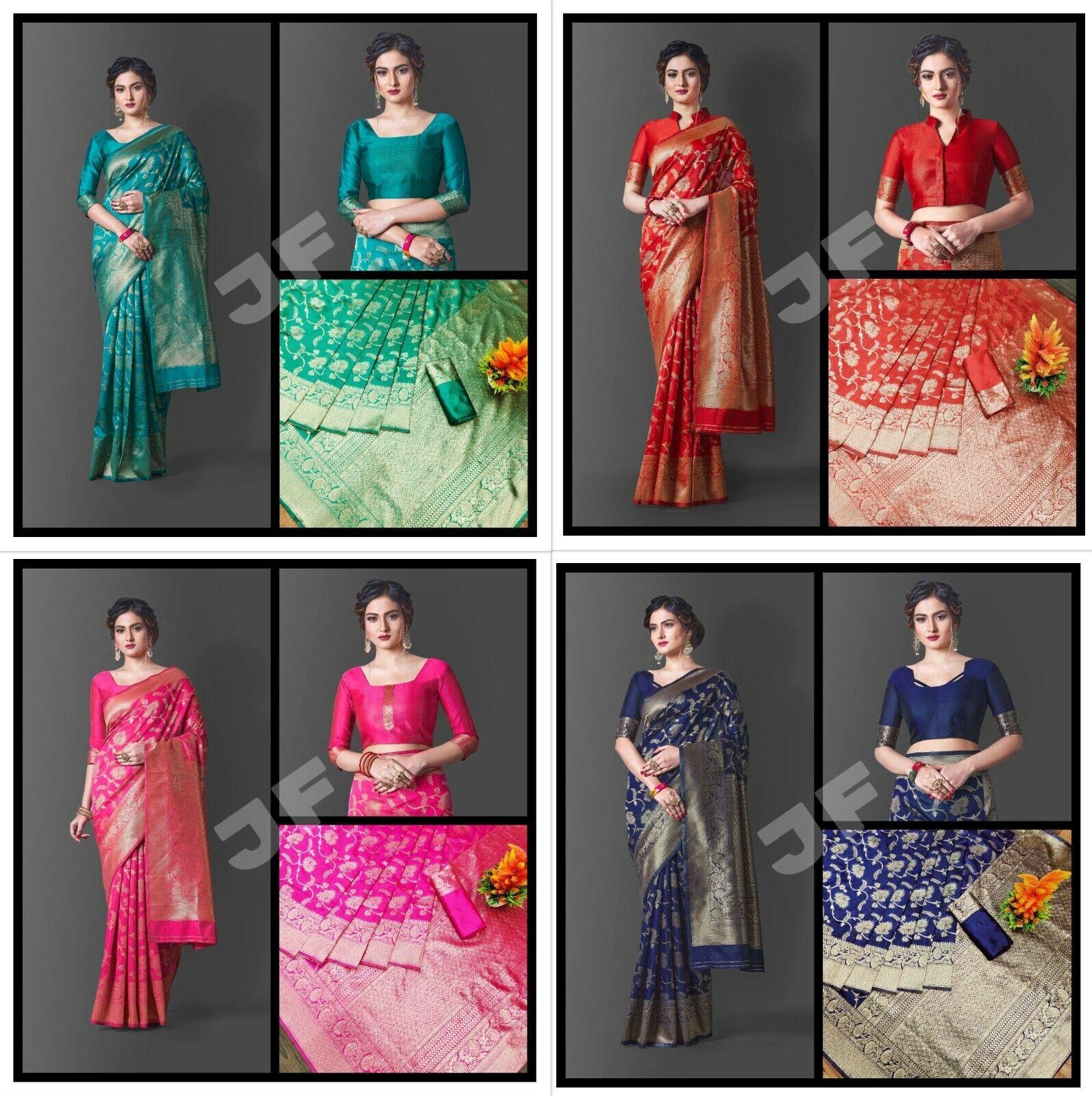 Banarasi Saree Indian Traditional Wedding Wear Pure Silk Sari With Rich Pallu