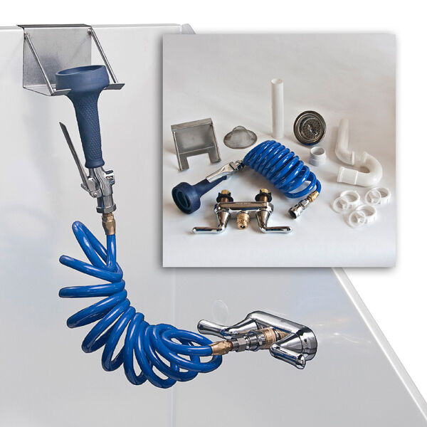 Pro Groomer's Complete Tub Plumbing Kit Faucet Coiled Hose and Full Sp  Head