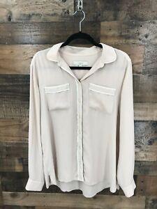 Ann-Taylor-Loft-Women-039-s-Tan-amp-White-Trim-Long-Sleeve-Sheer-Button-Up-Blouse-Sz-L