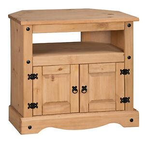 Corona Corner TV Unit Media Cabinet Stand 2 Door Solid Pine by Mercers Furniture