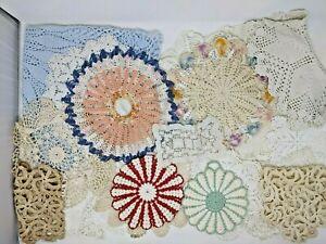 VTG Large Linen Lot Of 18 Crochet Doilies Doily Blue Beige Handmade - Beautiful