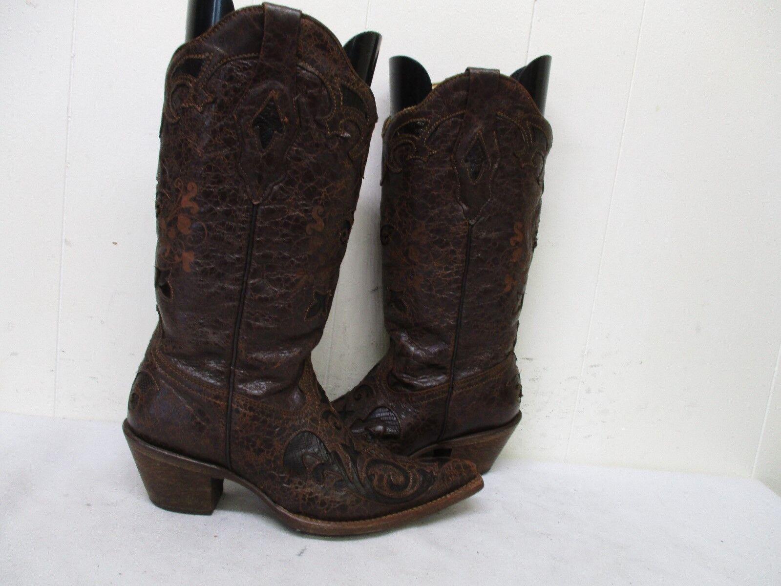 Corral incrustaciones de cuero marrón de efecto craquelado Puntera en en en Punta botas De Vaquero Talla 7 M Estilo C2109  calidad de primera clase