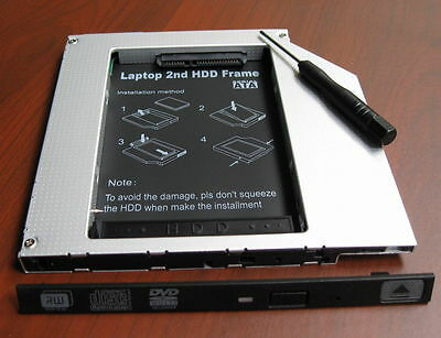SATA 2nd Hard Drive SSD// HDD Caddy for HP ENVY TouchSmart 17-j153cl RE GU90N