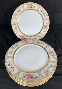 Vintage-Limoges-Dinner-Plates-Set-Of-6-Wm-Guerin-amp-Co-Floral-and-Gold