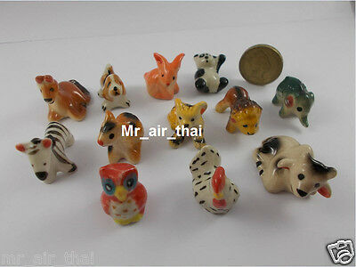 Figurines Ceramic Collection Animals Elephant Painted Miniatures Porcelain 12pc