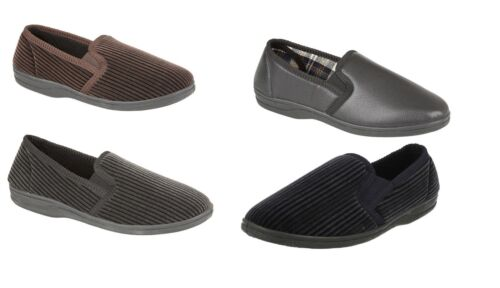 Four Seasons Mens Textile Slip On Slippers Twin Gusset Sizes 7-12 UK