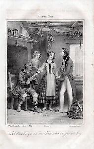 """AgréAble Gravure """" Ma Soeur Kate Sera Un Jour Une Lady """" 1842 Belle Apparence"""