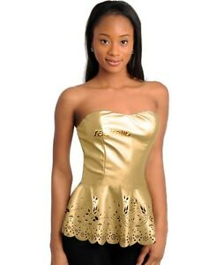 NEW Small Jr Pleather Metallic Gold Strapless Top Peplum Cut Work ...
