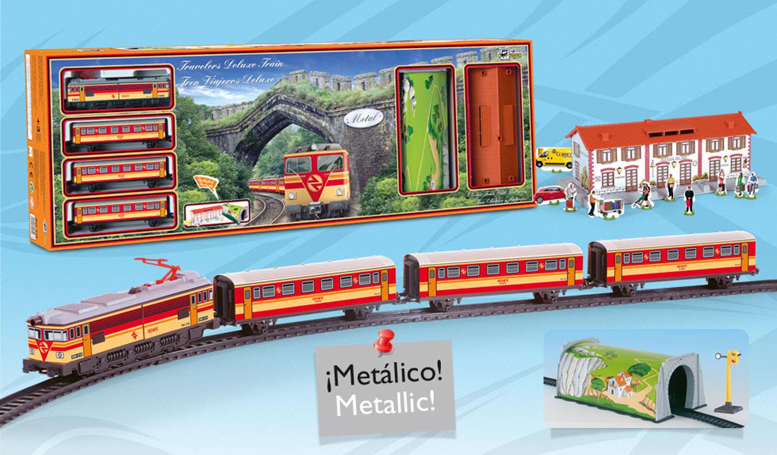 Tren Electrico Metalico Viajeros Luz Estacion Tunel y Accesorios  516