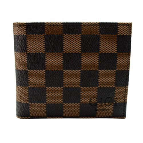 Luxury Mens Brown Check Wallet Soft Bifold ID Credit Card Holder Gift pu leather