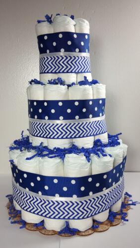3 Tier Diaper Cake Blue Chevron /& Polka Dot Boy Baby Shower Centerpiece