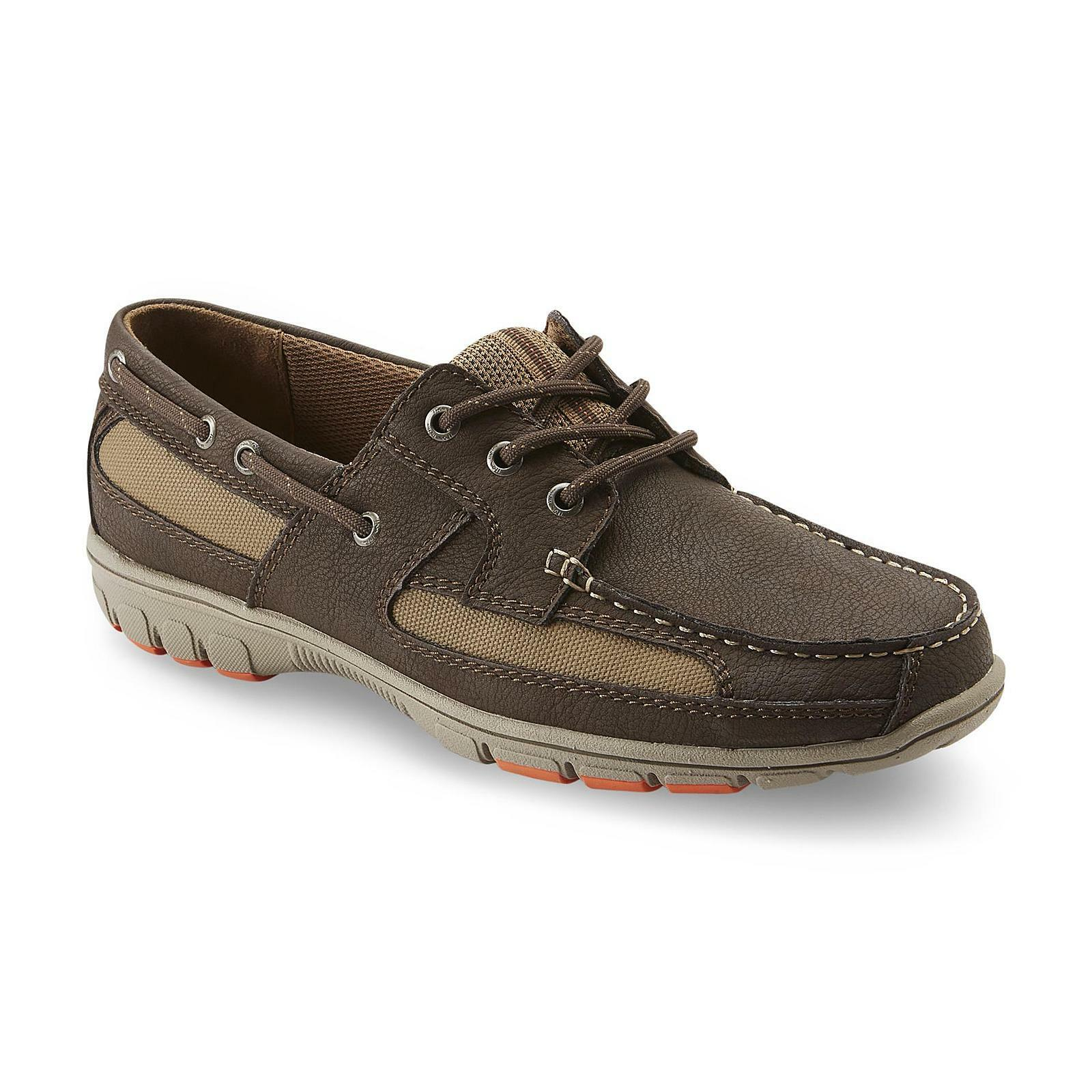 Thom McAn Men's Kiel Brown Tan Casual Lace-Up  Boat shoes