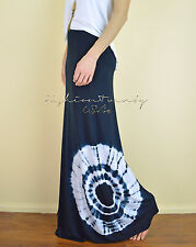 Navy Blue BOHO SUMMER Beach Jersey Knit BOHO Tie Dye Casual Long Maxi Skirt S