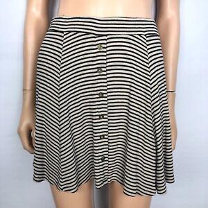 56b1893005 Full Tilt Striped Skater Skirt Women's XS Tan Black Ribbed Short ...
