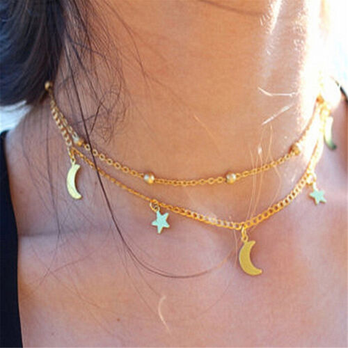 Double-deck Star Moon Pattern Necklace Simple Style Short Gold Silver Chain VGCA