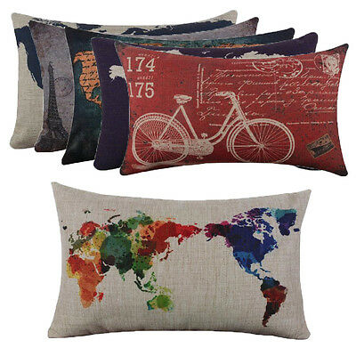 Cotton Linen World Map Throw Flax Pillow Case Home Decor Cushion Pillow Cover