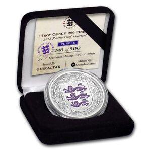 Gibraltar 1 Pound Argent Blason Violet Be 1 Once 2018 Uqidywqq-07220043-116088786