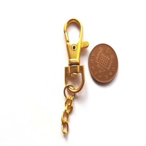 A6844 Platinum Gold 13x39mm 10 x Swivel Trigger Clip Key Clasps with Chain