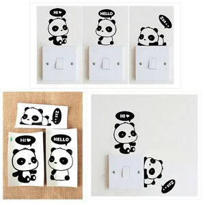 Lichtschalter steckdosen aufkleber panda sticker tattoo for Sticker wand kinderzimmer