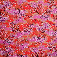 Japanese Fabric 100% Cotton Sakura Tree Red Gold Per Half Metre 50cm TG13