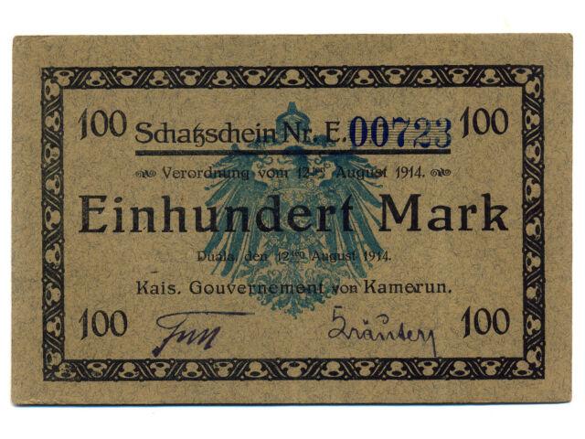 German Kamerun(Cameroun):P-3b,100 Mark ,1914 * RARE * EF+ *