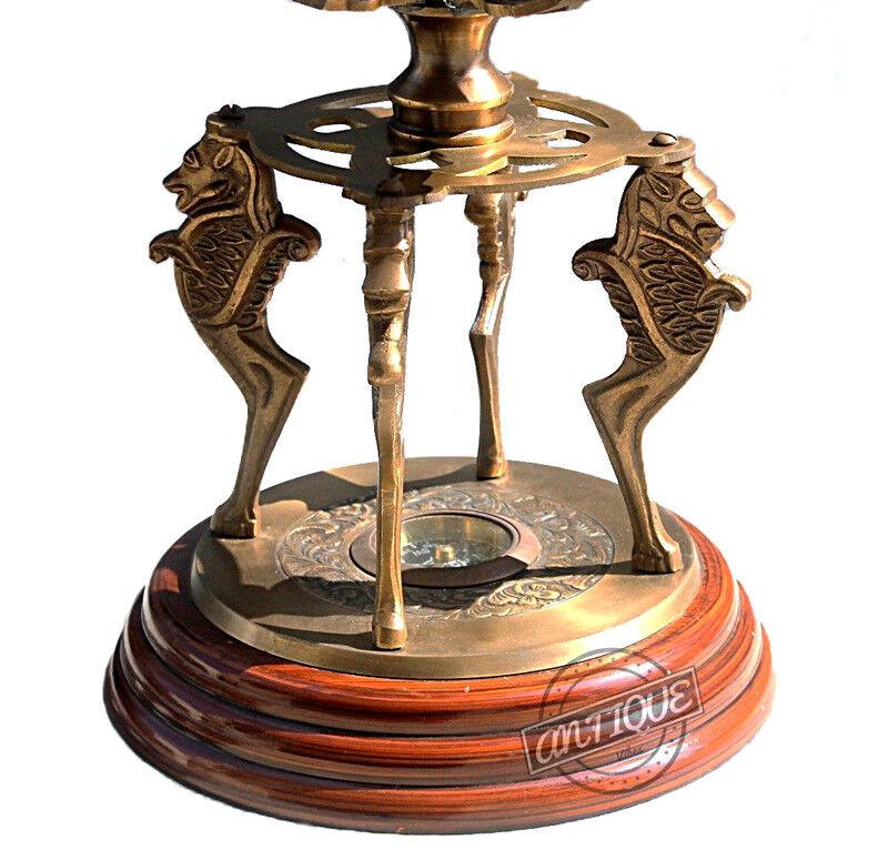 Armillary Sphere Compass Wooden Base Globe 18
