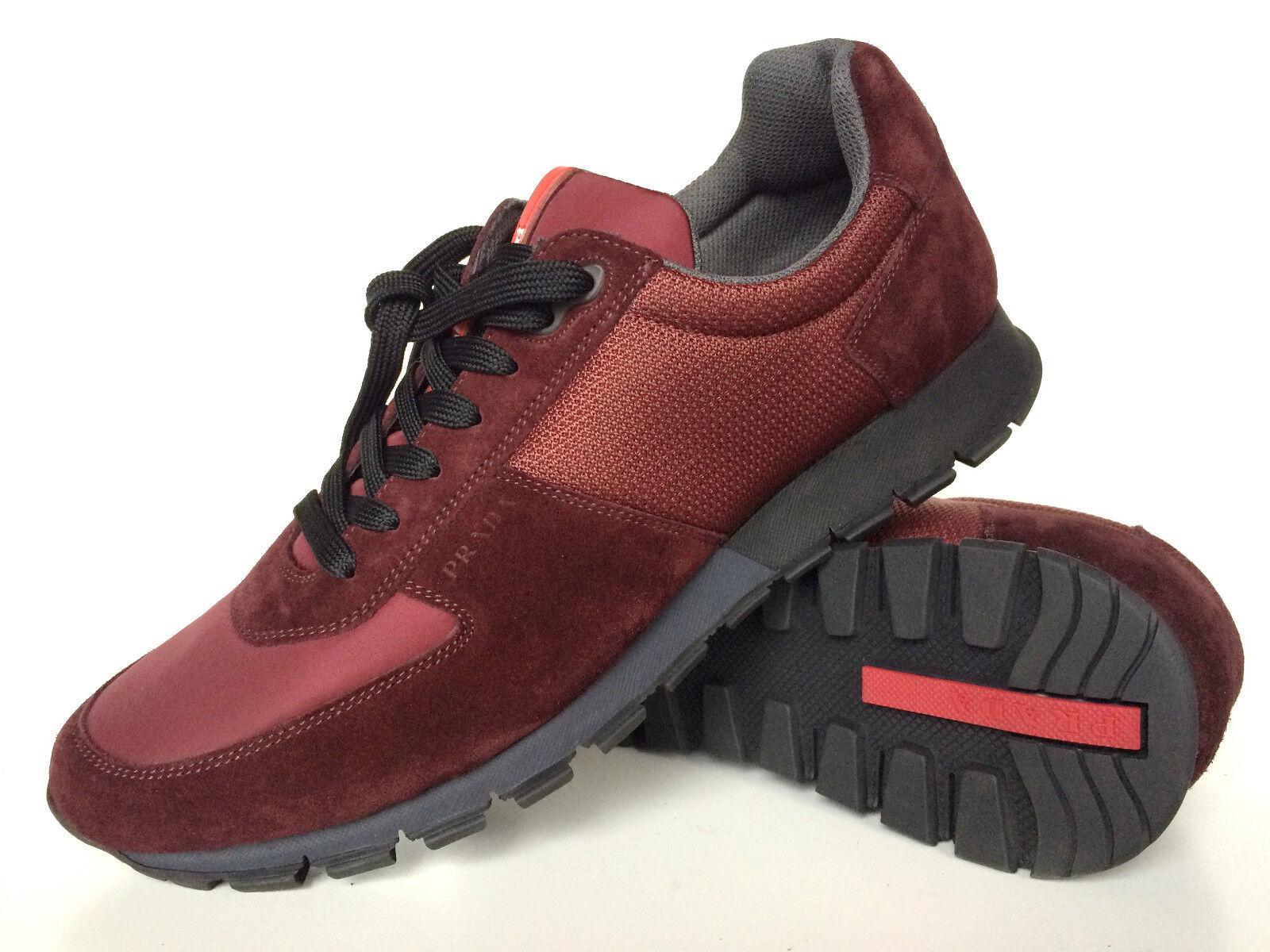 Prada cortos zapatos de gamuza 40 burdeos, Prada cortos Leather Maroon 6,5
