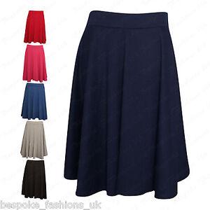 b5e5b7cd6b4 Ladies Women s Plain Stretchy Elasticated Plus Size Skater Skirt ...