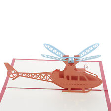 Helicopter Airplane 3D Pop Up Greeting Cards Children's Day Christmas Birthday