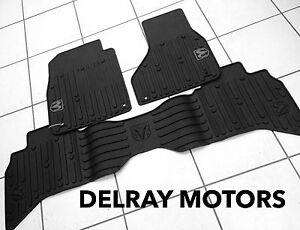 Black Rubber Slush Floor Mats 2013 2017 Ram 1500 Quad Cab Brand