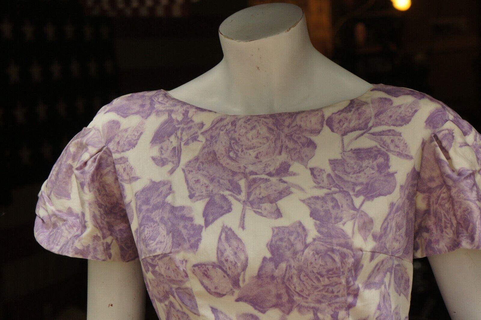 Vintage 50s Purple Floral Rose Print Dress Midi … - image 3